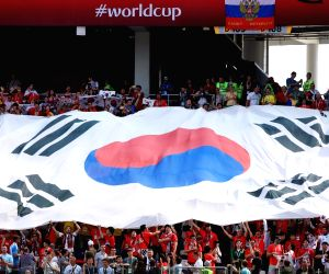 Nizhny Novgorod: Huge Korean national flag at S. Korea-Sweden FIFA World Cup match