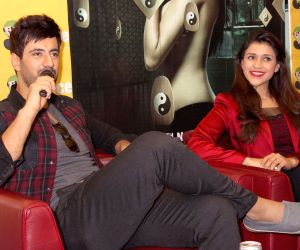 Mannara and Karanvir Sharma during a press meet