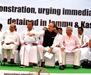 Opposition leaders during protest called by DMK at Jantar Mantar