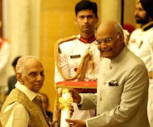 P. Parameswaran receives Padma Vibhushan from President Ram Nath Kovind at the Civil Investiture Ceremony, at Rashtrapati Bhavan, in New Delhi on March 20, 2018.