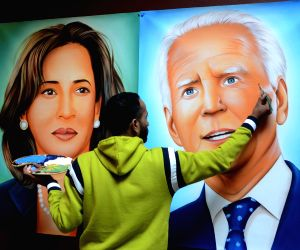 Painting depicting US President-elect Joe Biden (R) and Vice President-elect Kamala Harris (L)