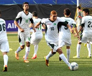 Pakistani footballers during practice session