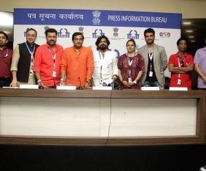 Panaji :IFFI 2017  - Indian Panorama Press Conference - Sachin Khedekar, Pulkit, Prasad Oak, Deepak Gawade and Sharad Kelkar
