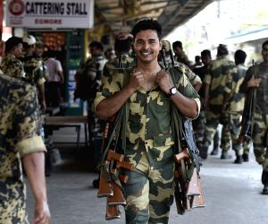 Paramilitary personnel arrive at Egmore Railway station