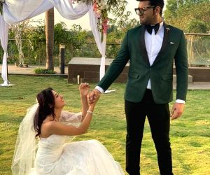 Bigg Boss 13 contestants Paras Chhabra and Mahira Sharma get fans excited with bridal photo-op