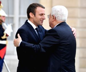 FRANCE-PARIS-EMMANUEL MACRON-PALESTINIAN PRESIDENT-MEETING