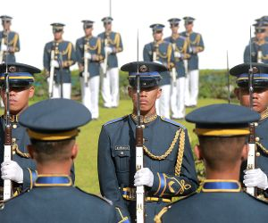 PASAY CITY, July 3, 2018 - Honor guards stand in attention during the 71st founding anniversary of the Philippine Air Force at the Villamor Air Base in Pasay City, the Philippines, July 3, 2018.