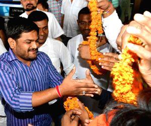 Hardik Patel on his arrival at airport