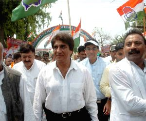 Raj Babbar during a Congress programme