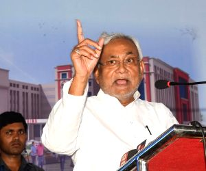 Patna: Bihar Chief Minister Nitish Kumar addresses at the foundation stone laying ceremony of a 500 bedded hospital at Indira Gandhi Institute of Medical Sciences in Patna on June 11, 2019. (Photo: IANS)