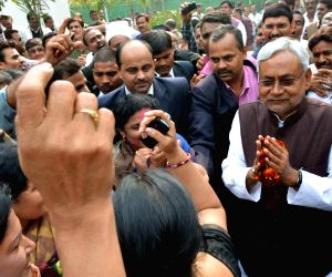 Nitish Kumar meets his supporters