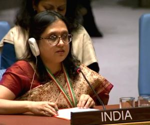 Paulomi Tripathi, a First Secretary at India's UN Mission speaks at the United Nations Security Council debate on Women, Peace and Security on Thursday, Oct. 25, 2018. (Photo: UN/IANS)