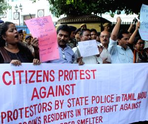 Demonstration against death of nine persons in police firing
