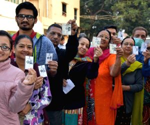Vijay Rupani votes during the first phase of Gujarat election