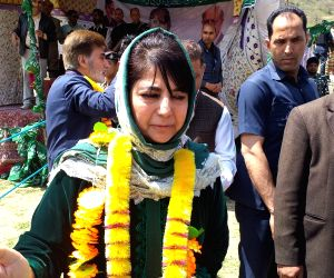 Peoples Democratic Party (PDP) President and the party's Lok Sabha candidate from Anantnag, Mehbooba Mufti during a public rally at Kapran, in Jammu and Kashmir's Anantnag district, on ...