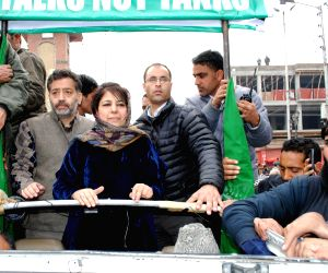 Mehbooba Mufti addresses a peace rally at Lal Chowk