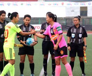 Players during an Indian Women's League (IWL) match between KRYHPSA and Gokulam Kerala FC at the Jawaharlal Nehru Stadium in Shillong on April 10, 2018.