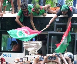Mohun Bagan celebrates after winning the 14th Federation Cup