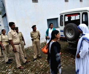 Police outside Missionaries of Charity