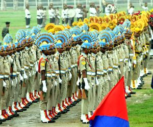 Police personnel during a parade rehearsal