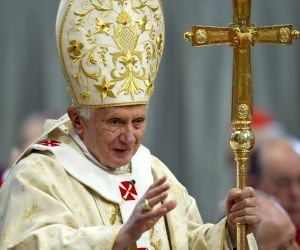 Pope Benedict XVI gives blessings at the Saint Peter's Basilica