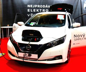 PRAGUE, April 14, 2019 - A new Nissan LEAF is on display during Autoshow Prague, in Prague, the Czech Republic, April 13, 2019. The three-day automotive expo closed here on Sunday.