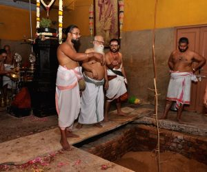 Preparations for the Samadhi of Jayendra Saraswathi, the 69th pontiff of the Sankara Mutt, underway in Tamil Nadu's Kanchipuram on Mar 1, 2018. Jayendra Saraswathi passed away at a ...