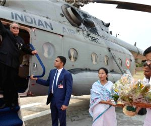 President Mukherjee arrives at Sonarpur Helipad