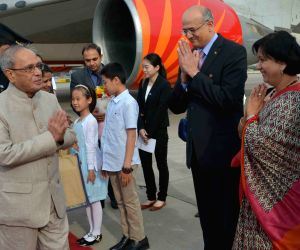 President Mukherjee arrives in Beijing