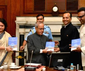 "President Mukherjee during presentation of the book ""The President of India & the Governance of Higher Education Institutions"