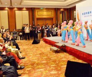 President Mukherjee at the reception co-hosted by Embassy of India and CPAFFC
