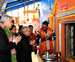 President Mukherjee at Badrinath temple
