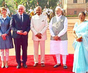 President Ram Nath Kovind and Prime Minister Narendra Modi with German President Frank-Walter Steinmeier during a Ceremonial Reception at Rashtrapati Bhavan in New Delhi on March 24, 2018.