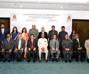President Ram Nath Kovind, Chief Justice of India Justice Dipak Misra, Supreme Court Judge Justice Ranjan Gogoi and other dignitaries at the inaugural programme of National Conference, ...