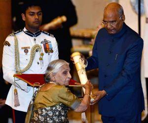 President Ram Nath Kovind confers Padma Bhushan on Kuldip Nayar (Posthumous), during the Civil Investiture Ceremony-I at Rashtrapati Bhavan, in New Delhi on March 11, 2019.