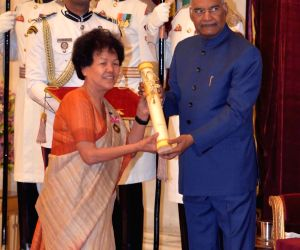 President Ram Nath Kovind presents Padma Bhushan to mountaineer Bachendri Pal for Sports during Civil Investiture Ceremony - II at Rashtrapati Bhavan in New Delhi, on March 16, 2019.