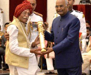 President Ram Nath Kovind presents Padma Bhushan to 'Mahashian Di Hatti' (MDH) Chiarman Mahashay Dharampal Gulati for Trade and Industry during Civil Investiture Ceremony - II at ...