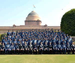 President Ram Nath Kovind with the Indian Air Force Band Contingents (participants of the Beating Retreat Ceremony) and Provost Outrides at Rashtrapati Bhavan in New Delhi on Jan 30, 2018.