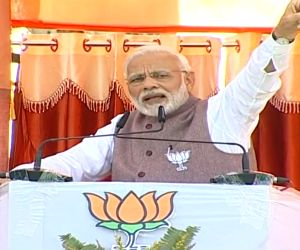 PM Modi at a public meeting in Madhya Pradesh