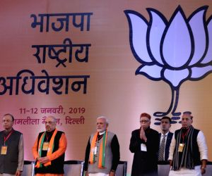 Prime Minister and BJP leader Narendra Modi and party president Amit Shah with party leaders L.K. Advani, Arun Jaitley and Rajnath Singh during the party's two-day long National Council ...