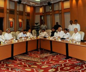 Prime Minister Manmohan Singh and UPA Chairperson Sonia Gandhi at the all-party meeting