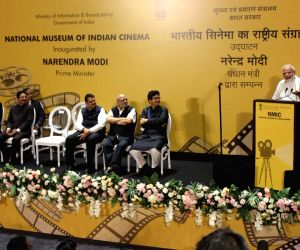Prime Minister Narendra Modi addresses at the inauguration of National Museum of Indian Cinema, in Mumbai on Jan 19, 2019. Also seen Maharashtra Governor C. Vidyasagar Rao, Chief Minister ...