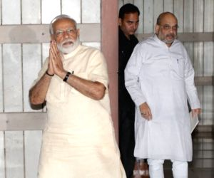 Prime Minister Narendra Modi and Union Home Affairs Minister Amit Shah seen after NDA meeting in New Delhi, on June 16, 2019.