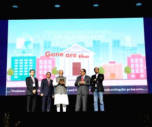 Prime Minister Narendra Modi at the launch of the RuPay, BHIM App and UPI by SBI, Singapore at Marina Bay Sands Convention Centre in Singapore on May 31, 2018.