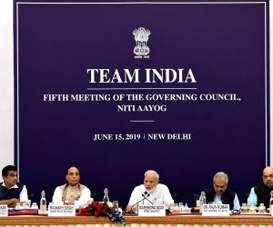 Prime Minister Narendra Modi chairs the fifth meeting of the Governing Council of NITI Aayog, in New Delhi on June 15, 2019. Also seen Union Ministers Nitin Gadkari, Rajnath Singh, Amit ...
