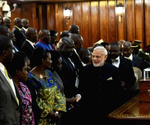 Kampala (Uganda): PM Modi during reception at Ugandan Parliament