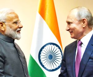 Prime Minister Narendra Modi meets Russian President Vladimir Putin on the sidelines of the SCO Summit in Bishkek, Kyrgyzstan on June 13, 2019.