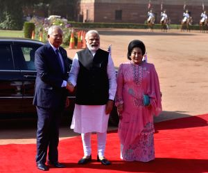 Narendra Modi welcoming Mohd Najib Bin Tun Abdul Razak
