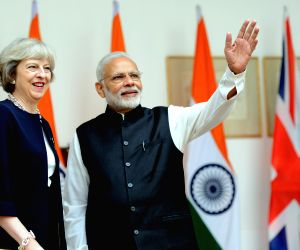 Narendra Modi, Theresa May at Hyderabad House