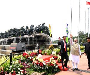 Jakarta (Indonesia): PM Modi, Indonesian President at Arjuna Wijaya Chariot statue